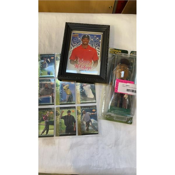TIGER WOODS COLLECTIBLES 2001 MASTERS TOURNAMENT, FRAMED PIC, AND SPECIAL CARDS