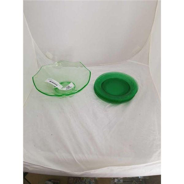 URANIUM GLASS PLATES AND LARGE BOWL