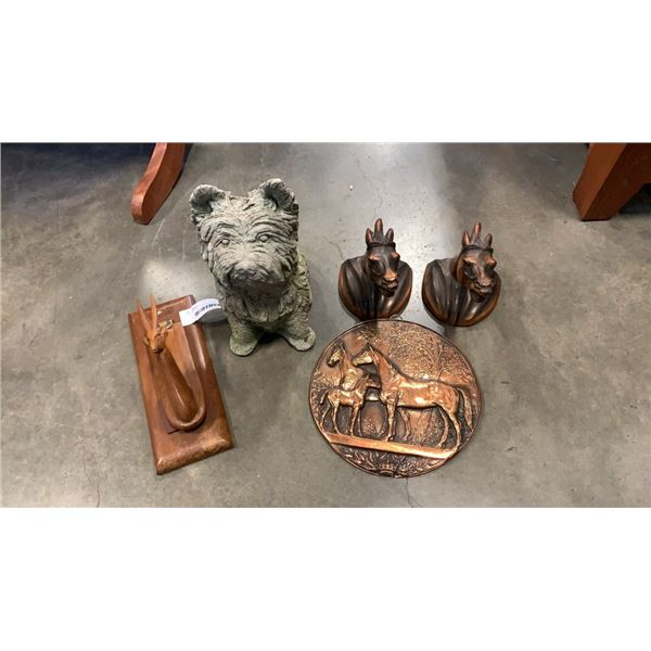 LOT OF COLLECTABLES, DOG FIGURE, HORSE BUSTS