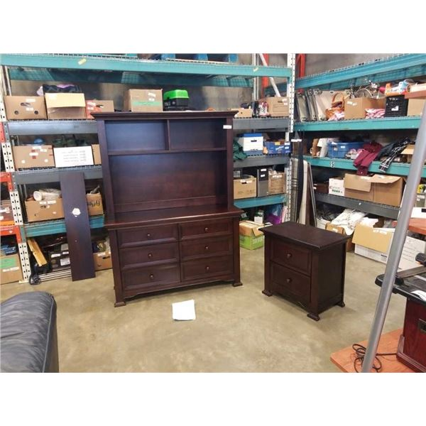 KINGSLEY MODERN 6 DRAWER DOUBLE DRESSER WITH MUNIRE FURNITURE HUTCH - 74 INCHES TALL AND MATCHING MU