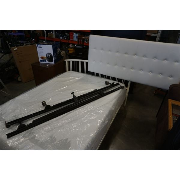 DOUBLE SIZE DOUGLAS MATTRESS WITH ROLLER FRAME AND WHITE HEADBOARD