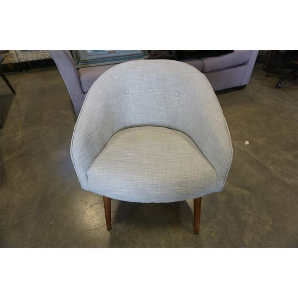 GREY UPHOLSTERED BUTTONBACK ACCENT CHAIR