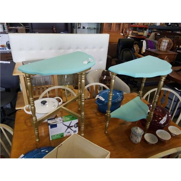 PAIR OF PAINTED D TABLES