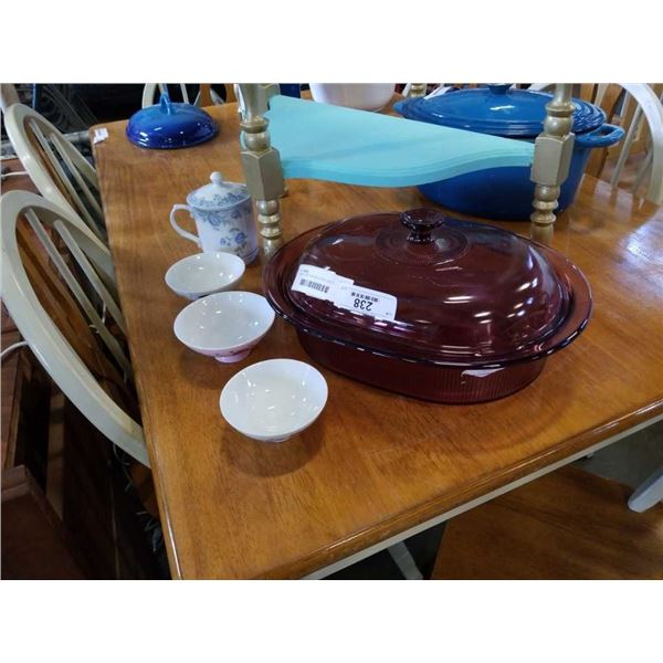VISIONS LIDDED BAKING DISH AND 3 SMALL BOWLS AND PORCELAIN JAR