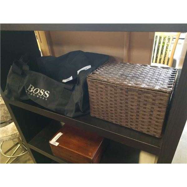 HUGO BOSS DUFFEL BAG AND BASKET OF ASSORTED JEWELRY, WATCH, ETC