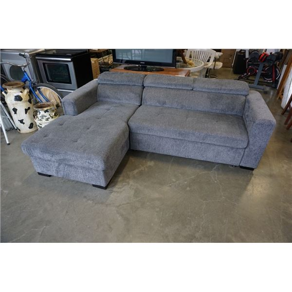 GREY FABRIC 2 PIECE SECTIONAL WITH STORAGE AND PULL OUT SLEEPER, ADJUSTABLE HEADRESTS