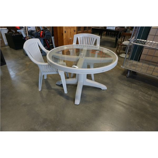 ROUND GLASSTOP PATIO TABLE WITH 2 CHAIRS