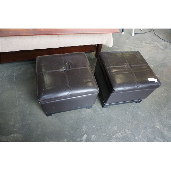 2 LEATHER STORAGE OTTOMANS