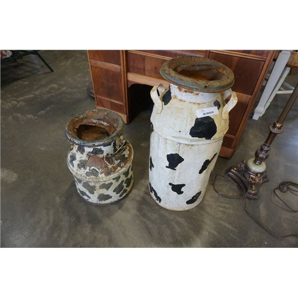 2 vintage milk cans