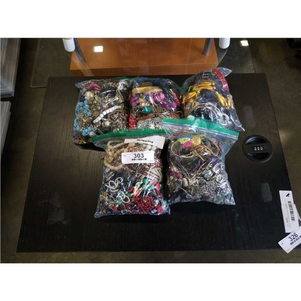 5 bags of various jewelry