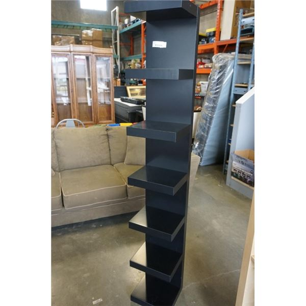BLACK WALL MOUNT OPEN SHELF 75 INCHES TALL, 12 INCHES WIDE, 11 INCHES DEEP