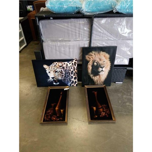 2 VELVET PAINTINGS - ONE HAS RIP AND 2 CANVAS PRINTS - LION AND LEOPARD