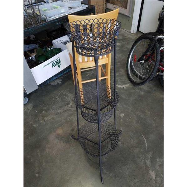 Three tier decorative metal basket stand