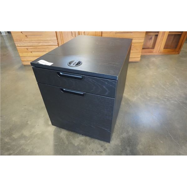 BLACK ROLLING FILING CABINET WITH LOCKING TOP DRAWER