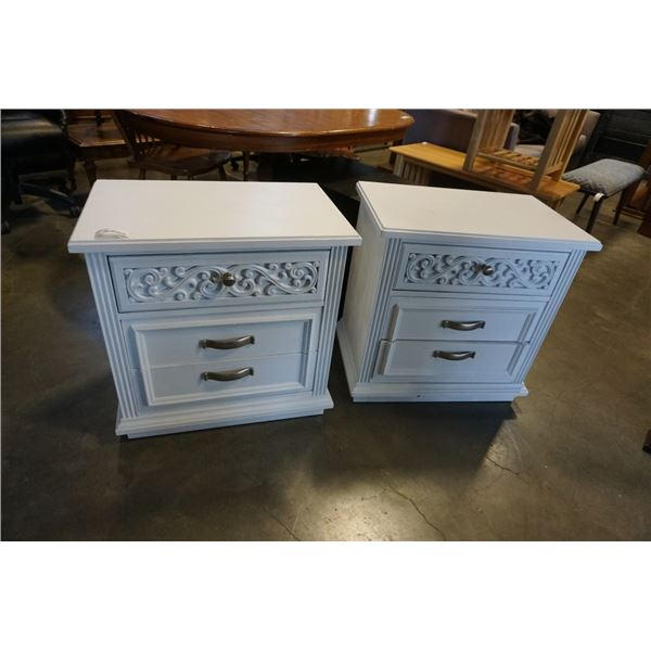 PAIR OF PAINTED WHITE NIGHTSTANDS