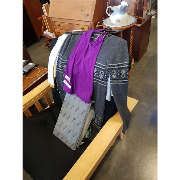 Lot of sweaters, tshirts, long sleeve shirts with tablet case, handbags and laptop bags