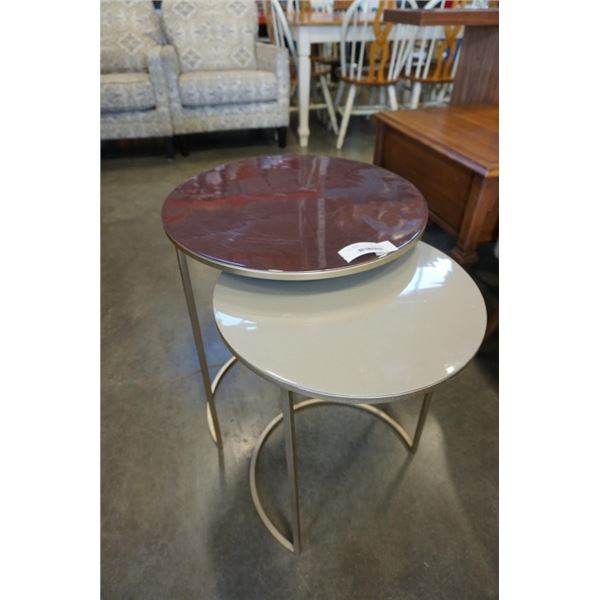 2 PIECE ROUND NESTING ENDTABLE SET - METAL AND GLASS