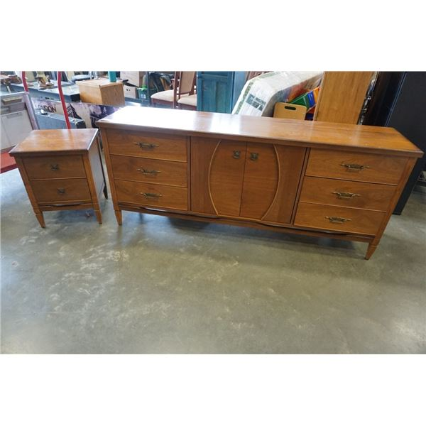 MCM SATIN WALNUT 6 DRAWER DRESSER AND 2 DRAWER NIGHTSTAND - 76 INCHES WIDE, 32.5 INCHES TALL, 18.5 I
