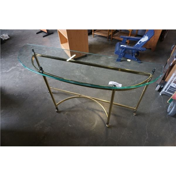 BRASS GLASSTOP SOFA TABLE
