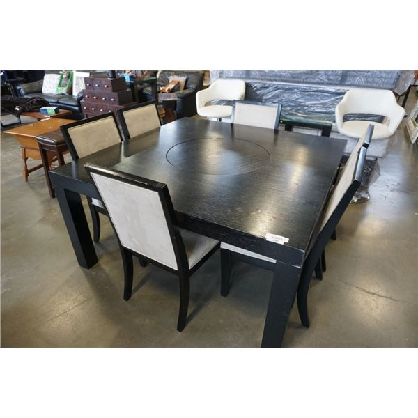 EZTIA BLACK MODERN DINING TABLE WITH 6 CHAIRS AND SPINNING CENTER - 5 FOOT X 5 FOOT WIDE, 30.5 INCHE