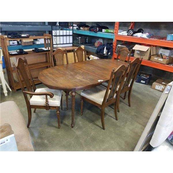 OVAL DINING TABLE WITH LEAF AND 6 CHAIRS