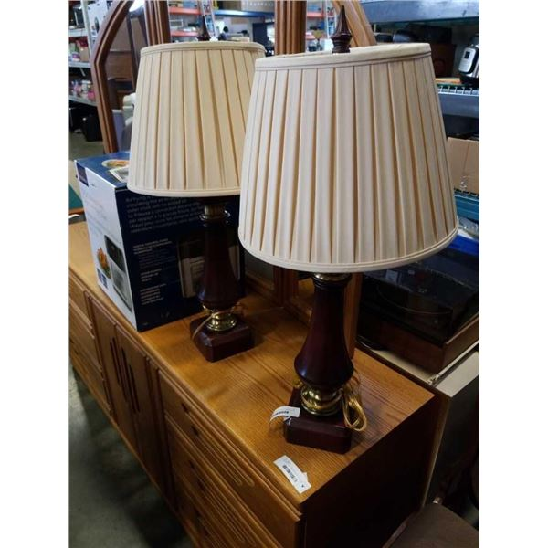 PAIR OF DECORATIVE TABLE LAMPS - NEED NEW SHADES