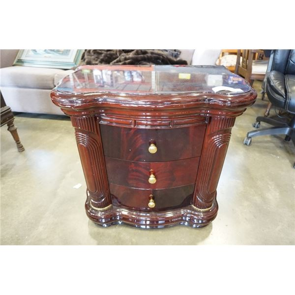 BOWFRONT 3 DRAWER NIGHTSTAND