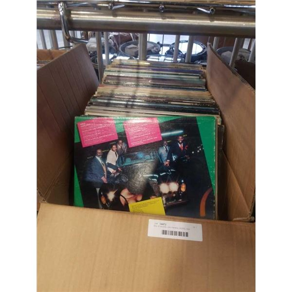 Box of records: Jimi Hendrix, AC/DC, Iron butterfly and others