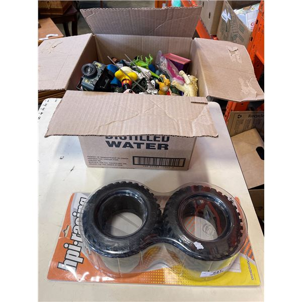 Box of toys and new HPI RC tires