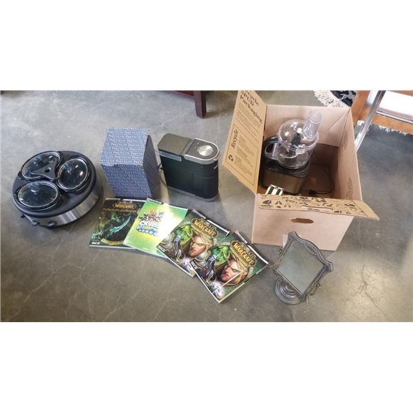KEURIG COFFEE MAKER, PARTY LITE, FOOD PROCESSOR, TRIPLE WARMING DISH AND SMALL CASE