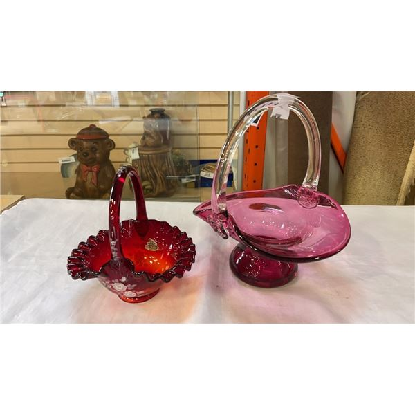 2 ART GLASS BASKETS - RED FENTON HAND PAINTED AND PINK