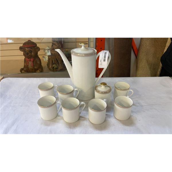 ARSBERY GERMANY COFFEE POT, CREAM AND SUGAR AND 6 MUGS