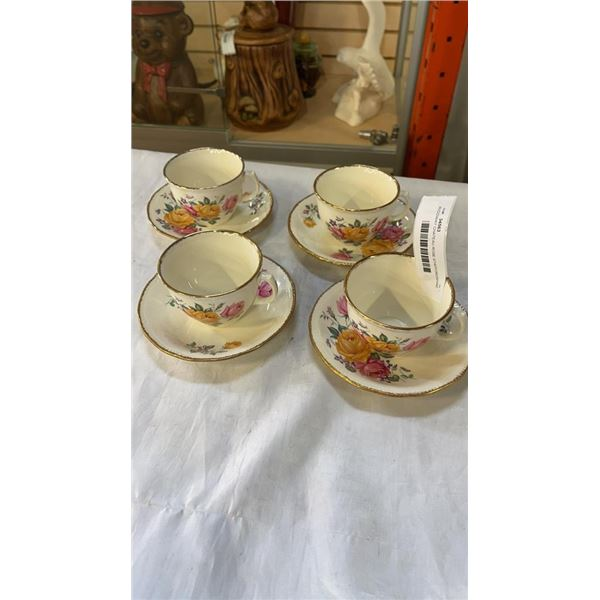 SET OF 4 RIDGWAY CHATEAU ROSE STAFFORDSHIRE CHINA CUPS AND SAUCERS