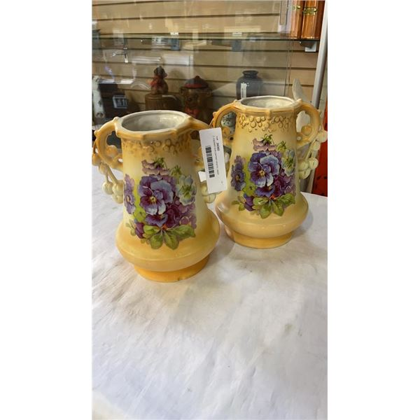 2 crackled look painted ceramic vases