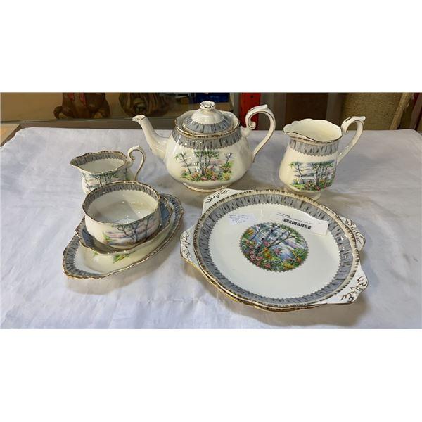 8 pieces of Royal albert silver birch china