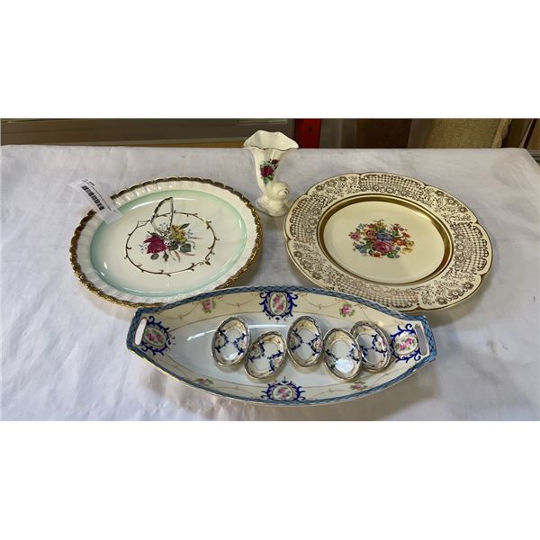 NORITAKE CHINA PLATTER WITH 5 SMALL DISHES AND CHINA PLATES AND VASE