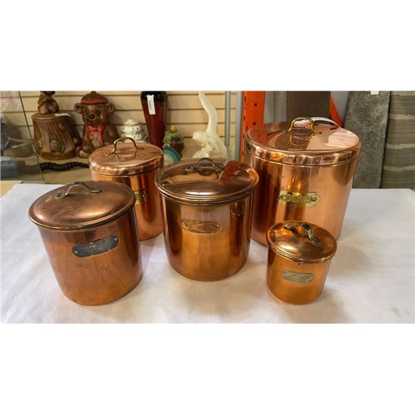 5 COPPER CANNISTERS
