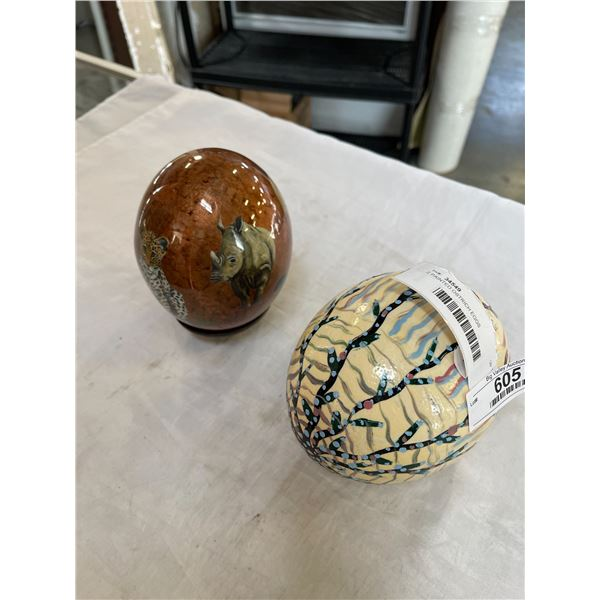 2 PAINTED OSTRICH EGGS