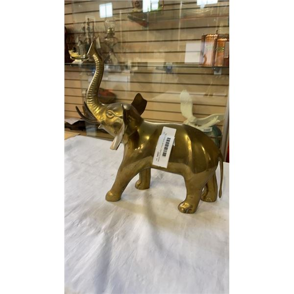 BRASS ELEPHANT FIGURE 14 INCHES TALL