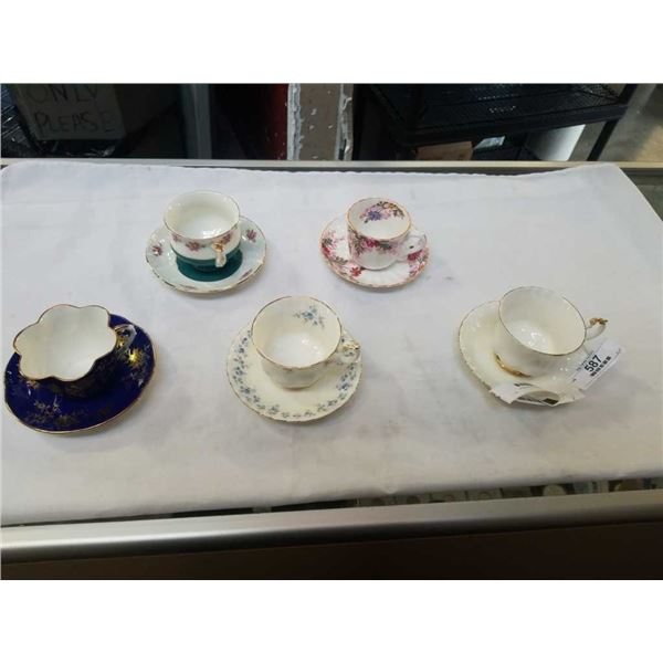 Five china cups and saucers Royal Albert ,stafford shire and spode