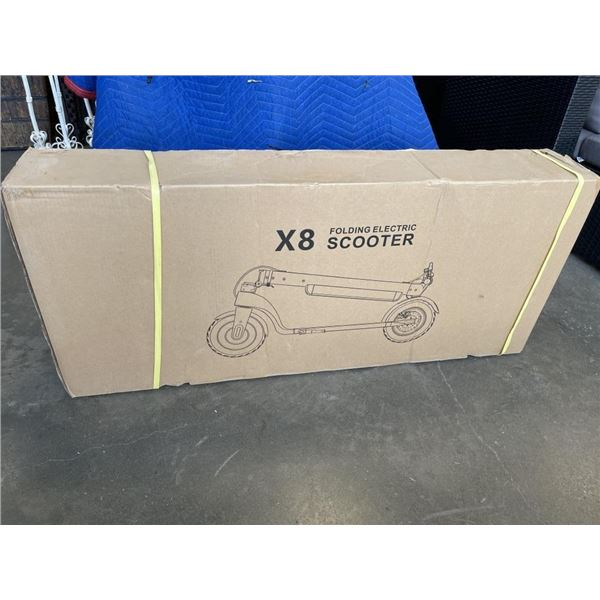 BRAND NEW IN BOX X8 FOLDING ELECTRIC ADULT SCOOTER W/ BATTERY PACK AND CHARGER, 50KM FULL-BATTERY RA
