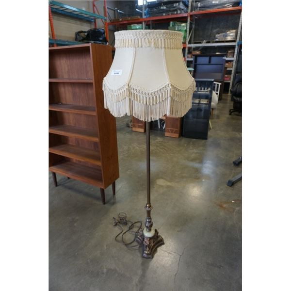 Antique stone base floor lamp with milk glass shade
