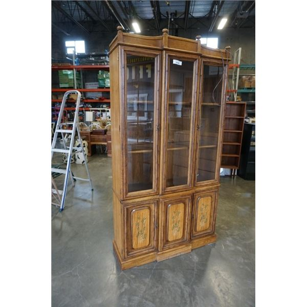 GLASS DOOR DISPLAY CABINET 81 INCHES TALL 41.5 INCHES WIDE, 14 INCHES DEEP