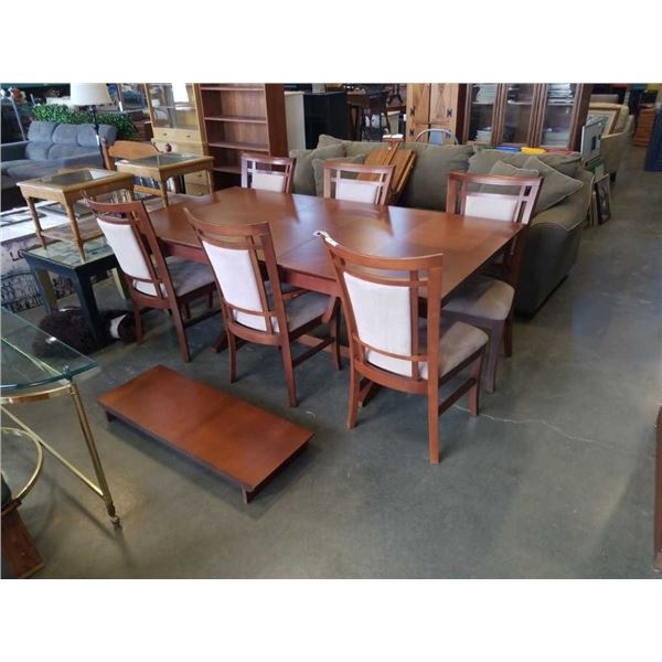 MODERN DINING TABLE WITH 2 LEAFS AND 6 CHAIRS