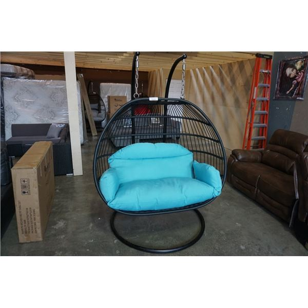 BRAND NEW BLUE DOUBLE HANGING EGG CHAIR - RETAIL $1969 W/ FOLDABLE FRAME, POWDER COATED STEEL FRAME,