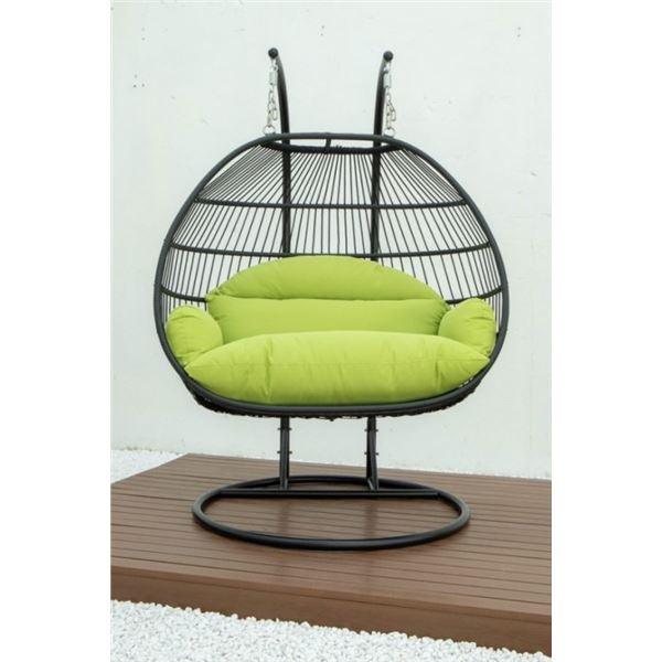 BRAND NEW GREEN DOUBLE HANGING EGG CHAIR - RETAIL $1969 W/ FOLDABLE FRAME, POWDER COATED STEEL FRAME