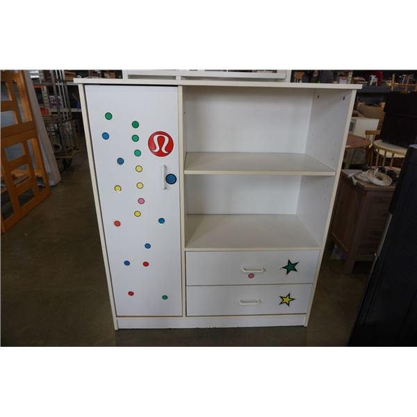 WHITE KIDS WARDROBE 48.5 INCHES TALL, 42 INCHES WIDE, 16 INCHES DEEP