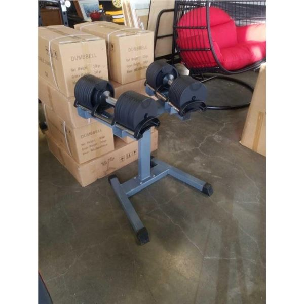 FLOOR MODEL PAIR OF ADJUSTABLE DUMBELLS W/ STAND UP TO 70LBS EACH RETAIL $899