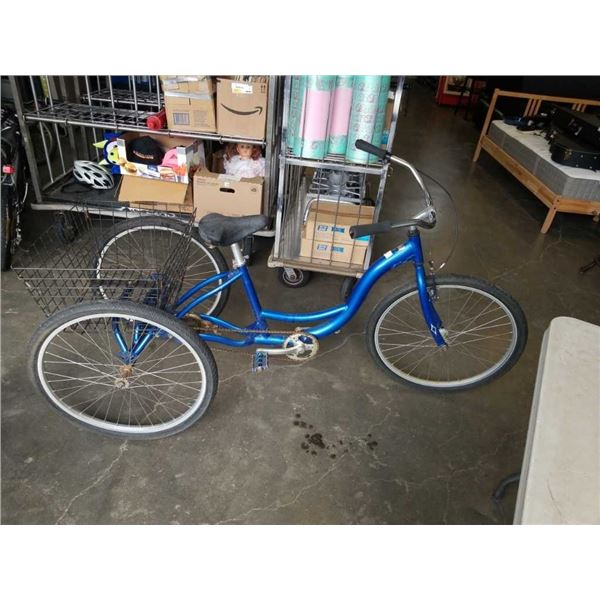 BLUE 3 WHEEL BIKE WITH BASKET-RIDEABLE BUT BACK WHEELS HAVE SLIGHT BEND