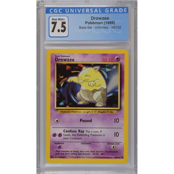 POKEMON 1999 unlimited Drowzee NM+ 7.5 CGC